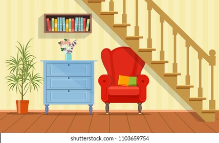Retro interior living room with bookcase,chair and commode under the stairs. Vector flat style illustration