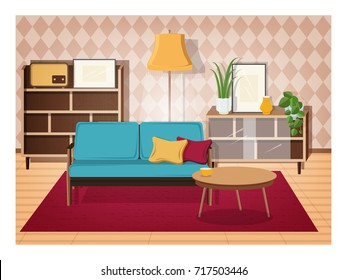 Retro interior of living room full of old-fashioned furniture and home decorations - comfy couch, coffee table, house plants, cupboard,  floor lamp, radio receiver. Vector illustration in flat style.
