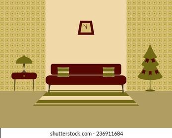 Retro interior. Vintage interior design of a living room.  Old interior  room for web design, print, poster, presentation, infographic. Flat design illustration.