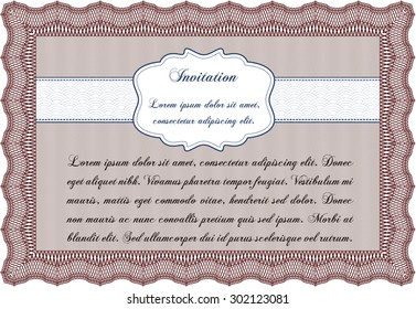 Retro invitation. Easy to print. Detailed.Beauty design.