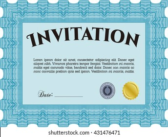 Retro invitation. With quality background. Border, frame. Lovely design.