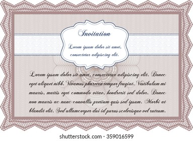 Retro invitation template. Artistry design. With great quality guilloche pattern. Detailed.