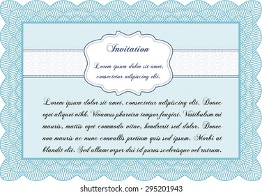 Retro invitation template. Border, frame.Complex background. Excellent design.