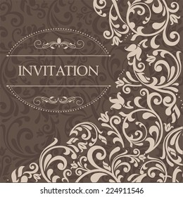 retro Invitation or wedding card with damask background and elegant floral elements