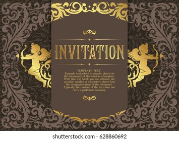 Retro Invitation or wedding card with damask background and elegant floral elements and silhouettes of two cupids