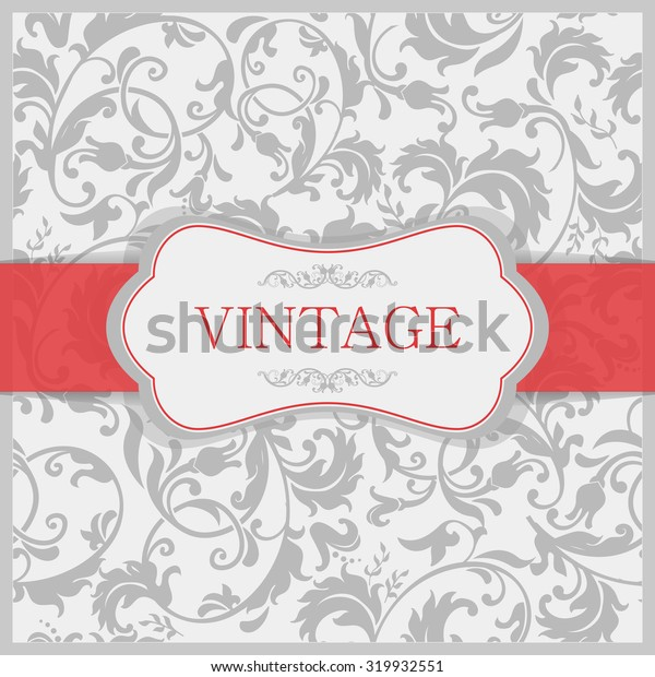 retro Invitation or wedding card with damask background
