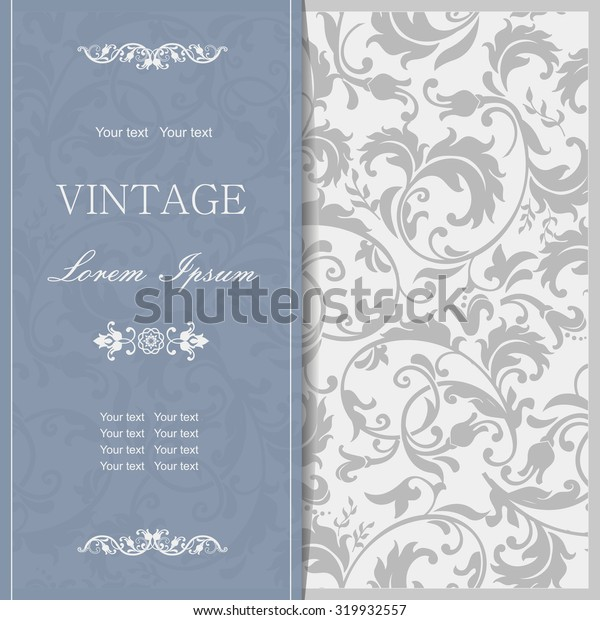 retro Invitation or wedding card with damask background