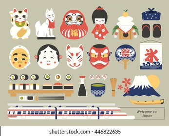 retro Japanese cultural stuffs collection - ice in Japanese on the flag/ good fortune on the daruma