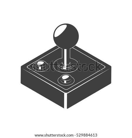 Retro Joystick Gamepad Icon Monochrome Video Stock Vector Royalty