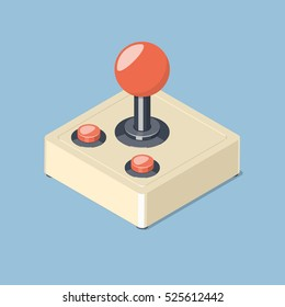 Retro joystick gamepad icon. Video game controller symbol. Isometric vector illustration