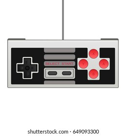 Retro joystick with wire isolated on white background. Control console for video game. Vector illustration