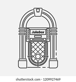Retro jukebox flat line vector icon isolated on white background.