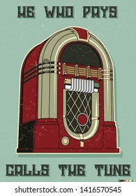 Retro Jukebox Isolated, Vintage Posters Stylization