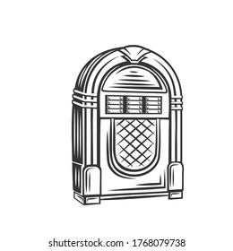 Retro jukebox monochrome icon. Vector illustration of fifties rock and roll hits, vintage juke box badge.