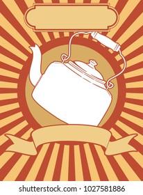 Retro kettle vintage teapot sign poster