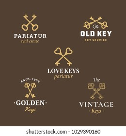 Retro Keys Emblems Set. Abstract Vector Signs, Symbols or Logo Templates. Different Crossed Keys Sillhouettes with Classy Typography. Vintage Vector Emblems. Dark Brown Background.