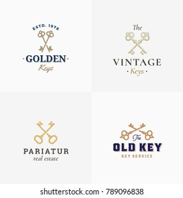 Retro Keys Set. Abstract Vector Signs, Symbols or Logo Templates. Different Crossed Keys Sillhouettes with Classy Typography. Vintage Vector Emblems. Isolated.