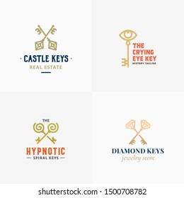 Retro Keys Small Collection. Abstract Vector Signs, Symbols or Logo Templates. Different Crossed Keys Sillhouettes with Classy Typography. Vintage Vector Emblems. Isolated.