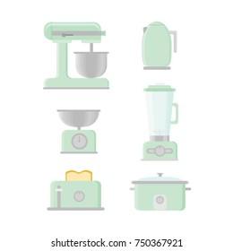 Retro Kitchen Appliances Vectors Green