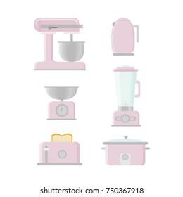 Retro Kitchen Appliances Vectors Pink
