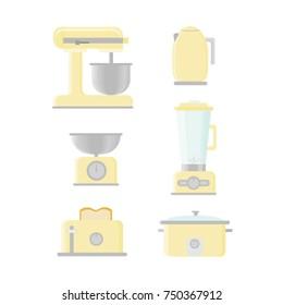 Retro Kitchen Appliances Vectors Yellow