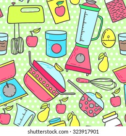 6055f28cd4a Retro kitchen seamless background. Hand-drawn 50s style cooking vector  illustration.