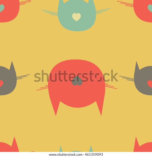 Retro kitty vector pattern