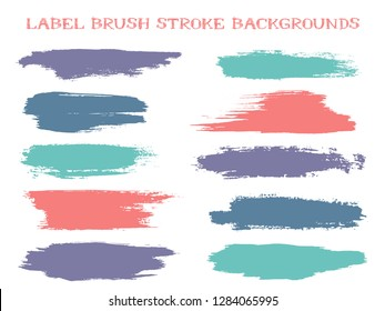 Retro label brush stroke backgrounds, paint or ink smudges vector for tags and stamps design. Painted label backgrounds patch. Interior paint color palette swatches. Ink stains, teal red spots.