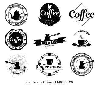 Retro label for coffee house. Premium coffee. Set decorative stamp. Elemnts for menu with lettering.