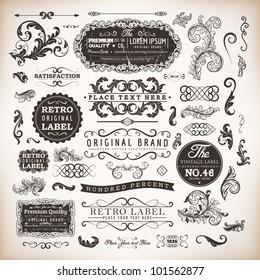 retro label style collection | vintage page elements set