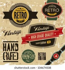 Retro labels set. Vintage labels collection.