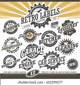 Retro labels and stickers collection. Vintage set of small business signs, badges, symbols and logos. Vector design.