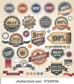 Retro labels and stickers collection. Vintage set of signs, symbols, icons, logos and badges.