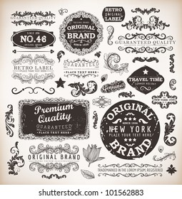 Retro labels and vintage badges: Original Brand, Guaranteed and Satisfaction, Travel Time, Genuine | Set of old page elements for design | Grunge background