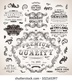 Retro labels and vintage badges: Original Brand, Guaranteed and Satisfaction, Highest Quality, Genuine, Premium | Set of old page elements for design