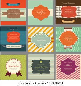 retro labels and vintage invitation cards