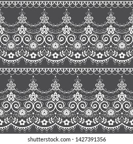 Retro lace seamless pattern, white decoration, ornamental repetitive design with flowers - textile design. Alencon French lace frame or border, vintage decoration with repetitive elements