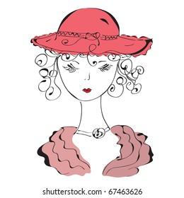 Retro lady in hat sketch