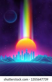 Retro landscape background sunset 3d landscape with rainbow light. Futuristic landscape 1980s style. Digital retro landscape cyber surface. 80s party background . Retro fashion Sci-Fi Background