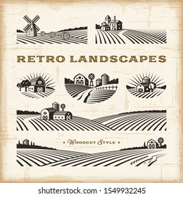 Retro landscapes set. Editable EPS10 vector illustration in woodcut style with clipping mask and  transparency.