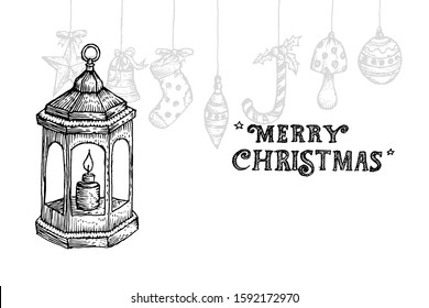 Retro lantern drawing sketch in engraved style for  merry christmas. Design vector illustration.