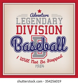 Retro Legendary Division Baseball Badge Varsity Style