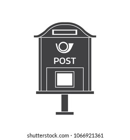 Retro letter box with horn outline illustration. Vintage mailbox icon. Monochrome post box logo or label template.