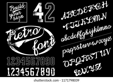 Retro Lettering font and digits. Continuous baseball style. Digits with grunge effects and in line style. Curve