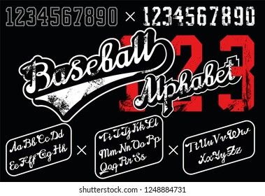 Retro Lettering font and digits. Continuous baseball style. Digits with grunge effects and in line style. Curve. Retro baseball alphabet