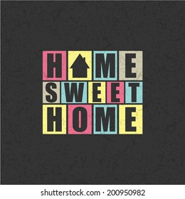 Retro letters  Home, Sweet Home  in frame  vector illustration