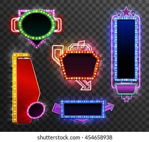 Retro light banner set isolated on transparent background isolated vector illustration