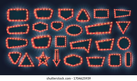 Retro light frames. Vector set of neon light bulbs with glow effect on a dark background with empty space inside. Free copy space for your text or design. Concept for casino or other games.