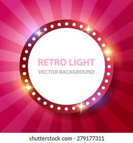 Retro light round banner. Vector illustration.