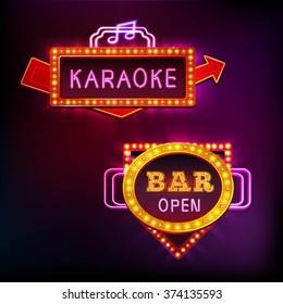 Retro light sight set with karaoke bar isolated on dark background vector illustration